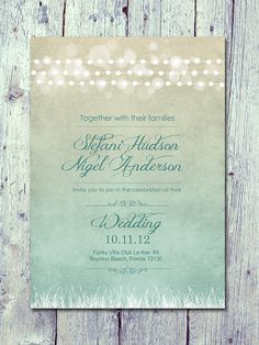 Digital - Printable Files- Shade - Romantic Light Garland Wedding Invitation and Reply Card Set - Wedding Stationery - ID127GR