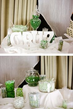 Candy bar, green and white