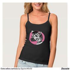Cute zebra cartoon spaghetti strap tank top