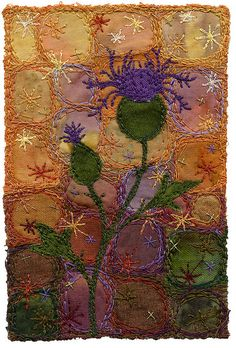 """Knapweed 2    Warm rich colours to welcome autumn.  3"""" x 4 ½""""  9"""" x 11"""" framed  SOLD  www.chursinoff.com/kirsten/"""