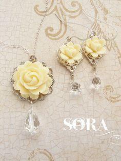 Wedding jewelry set Bridesmaid jewelry bridal rose by soradesigns, $50.34