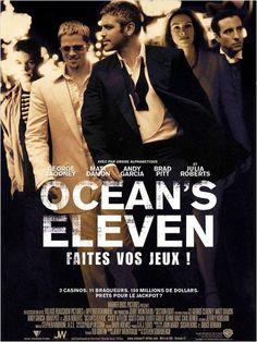 Ocean's Eleven great cast with George Clooney, Brad Pitt, Matt Damon and Julia Roberts. Ocean's Eleven, Popular Movies, Great Movies, New Movies, Awesome Movies, Family Movies, Brad Pitt, Matt Damon, Vintage Posters