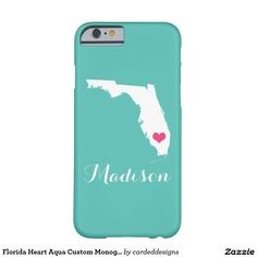 Florida Heart Aqua Custom Monogram Barely There iPhone 6 Case