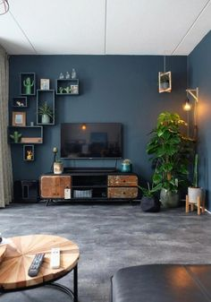 living room decor apartment / living room decor _ living room decor ideas _ living room decor apartment _ living room decor on a budget _ living room decor cozy _ living room decor modern _ living room decor farmhouse _ living room decor ideas on a budget Navy Living Rooms, Living Room Tv, Small Living Rooms, Living Room Lighting, Living Room Interior, Apartment Living, Living Room Designs, Modern Living, Tv Room Small