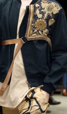 Dries Van Noten mens s/s Deconstructed embroidered Oriental vest with leather harness. Fashion Mode, Mens Fashion, Fashion Outfits, Dries Van Noten, Fashion Details, Fashion Design, Inspiration Mode, Gold Work, Embroidery Fashion