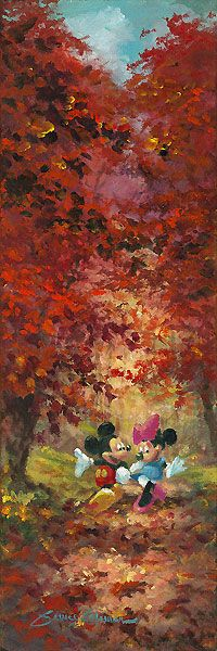Mickey Mouse - Path of Fall Leaves - Minnie - Original - James Coleman - World-Wide-Art.com