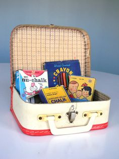 Vintage School Supply - Child Lunch Box Suit Case Bag Toy Chalk Coloring Pencils