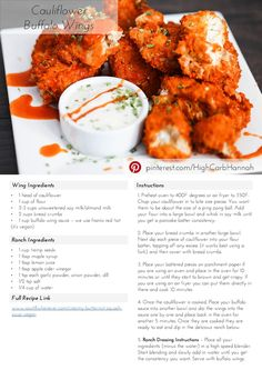 Cauliflower Buffalo Wings - Vegan