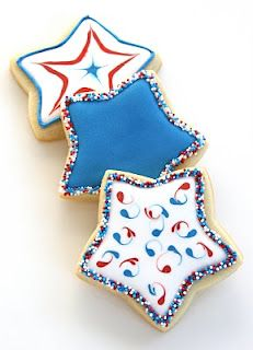 Fourth of July Star cookies (: Iced Sugar Cookies, Star Cookies, Cut Out Cookies, Cute Cookies, Royal Icing Cookies, Royal Frosting, Baby Cookies, Patriotic Desserts, 4th Of July Desserts