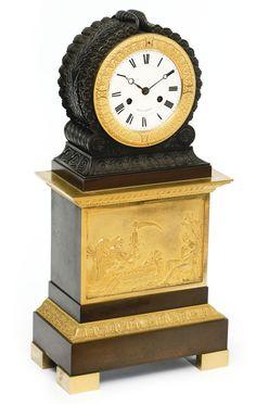 A Restauration ormolu and patinated bronze mantel clock<br>circa 1820, the dial signed <em>Voisin a Lancy</em> | Lot | Sotheby's