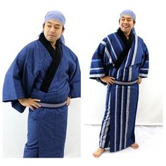 Miyata Orimono Naga Tanzen (made in Japan) - Japan cool culture and products information. - DOMO ARIGATO JAPAN Domo Arigato, Housecoat, Things To Buy, Stuff To Buy, Wide Stripes, Cotton Pads, Yukata, Traditional Outfits, Navy And White
