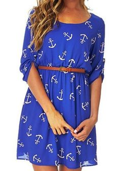 Blue Floral Belt Long Sleeve Sweet Mini Dress