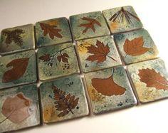 """6 """" Backsplash Ceramic Tile  Coaster Tile in """"Green Leaf"""" Glaze you pick the leaf"""