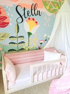 """Our most popular floor bed now includes mattress slat supports! Make your toddlers switch from a crib to """"big kid"""" bed easy with our railed quality built floor bed! Handcrafted in Ohio, USA. Toddler Floor Bed, Floor Beds For Toddlers, Baby Floor Bed, Toddler Twin Bed, Big Girl Rooms, Kid Beds, Baby Room, Cribs, Kids Room"""