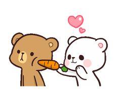 PRESTAME ATENCION Cute Love Gif, Cute Cat Gif, Cute Couple Pictures, Cute Couple Cartoon, Cute Cartoon Pictures, Calin Gif, Bear Gif, Cute Bear Drawings, Chibi Cat