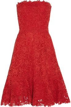 Valentino Strapless cotton-macramé lace dress | THE OUTNET