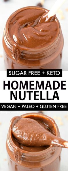 Fool-proof homemade Healthy Nutella made with 3 ingredients and NO sugar and NO . - Fool-proof homemade Healthy Nutella made with 3 ingredients and NO sugar and NO dairy! Hazelnut Butter, Chocolate Hazelnut, Healthy Chocolate, Homemade Chocolate, Peanut Butter, Homemade Nutella Recipes, Healthy Nutella Recipes, Healthy Blender Recipes, Homemade Butter