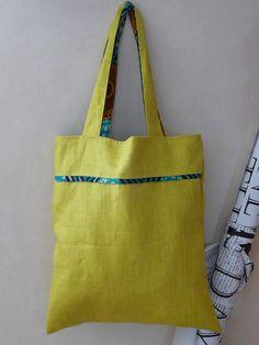 Tote bag cabas lin jaune vert et wax : Sacs à main par cecaroquafait