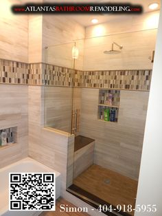 Atlanta Custom Tub Shower - Wooden White Marble