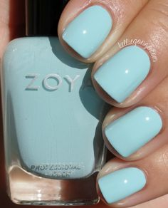 "KellieGonzo: Zoya Spring 2015 Delight Collection Swatches & Review Pastel ""Lillian"" robins egg blue"