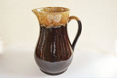 #VogueTeam #EtsyGift #vintage Large Water Pitcher, Brown Drip Pottery Pitcher, 96 Ounce Large Pitcher, Vintage Roseville Pottery,  Brown Drip Glaze, Serving Piece