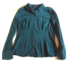Button Down Shirt This long-sleeve button down shirt has darted panels in both the front & back which helps define your waist.  It beautiful green color perfect for fall/winter!  Dressed up or down, this piece is a staple to any wardrobe! Apt. 9 Tops Button Down Shirts