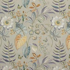 Captivating floral platinum upholstery fabric by Greenhouse. Item B9172-PLATINUM. Free shipping on Greenhouse products. Only 1st Quality. Over 100,000 fabric patterns. Width 54 inches. Swatches available.