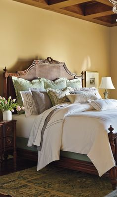 Intricate handcarved detail and handwoven caning distinguish our solid-mahogany Beauvier Cane Bed.