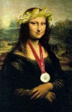 Mona Lisa with Olympic Medal, pop art.