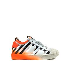 Anna Pops, unique kids shoes and clothes – online kids webshop - Momino - trainer - Sneaker with white and black stripes and fluorescent orange accent