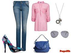 Escarpins de la marque Bubushii ky  Avec un jean slim bleu Mango  Une chemise rose Mango  Un pendentif fantaisiste argenté  Un sac Nat et Nin  Des lunettes Zara  Et des bijoux argentés
