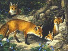Animaux de Linda Picken Foxs Family