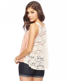 Sheer Lace Linen Top