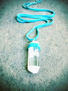 Leather Wrapped Raw Crystal Necklace