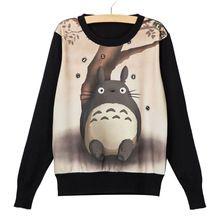 Harajuku 8 cores de outono menina das mulheres camisola Totoro impresso camisola mulheres esporte Suit Hoodie inverno malha pulôver(China (Mainland))