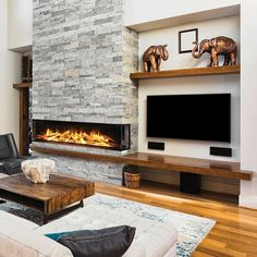 Wall Units With Fireplace, Fireplace Feature Wall, Linear Fireplace, Gas Fireplace Logs, Home Fireplace, Fireplace Remodel, Living Room With Fireplace, Fireplace Design, Fireplace Modern