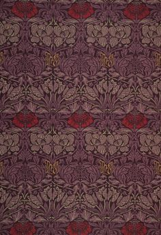 'Tulip & Rose' Morris volume V, originally produced as a woollen triple cloth by a Yorkshire mill Tulip & Rose is the first datable design by Morris for woven furnishings. Designed in 1876 it was most likely intended at the time to be used as carpeting rather than hanging.