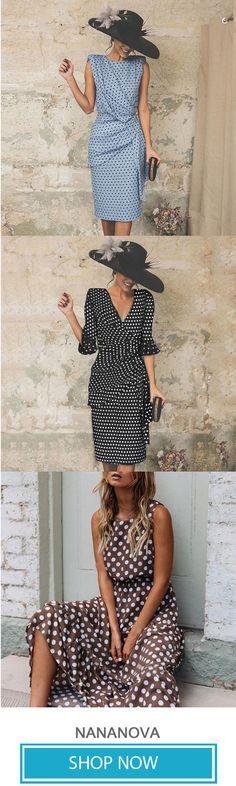 Round Neck Polka Dots Sleeveless Casual Dresses 50s Dresses, Casual Dresses, Vintage Dresses, Fashion Dresses, Pretty Outfits, Pretty Dresses, Beautiful Dresses, Cool Outfits, 1940s Fashion