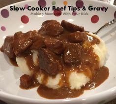 Slow Cooker Beef Tips and Gravy (Crock Pot)