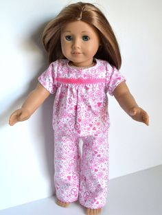 Doll Clothes fits AMerican GIrl Dolls PJ's. $11.25, via Etsy.