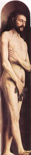 Adam, from the left wing of the Ghent Altarpiece, 1425 - 1429 - Jan van Eyck
