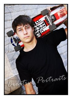 senior boy poses with skateboard - Google Search