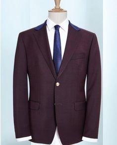 Plum 2 piece suit with Blue collar