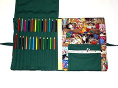 This beautiful deluxe fabric book and pencil organizer is soon to be your favorite coloring accessory! Not only does it organize your precious pencils making them easy to find at a moment's notice, it also holds two coloring books or sketch books. In addition it offers the convenience of quick and easy transport.