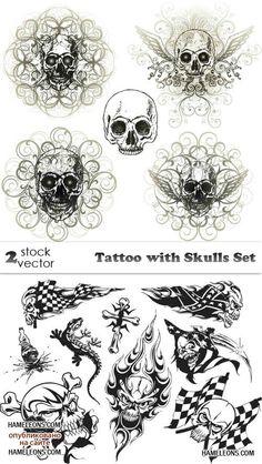 Татуировки с черепом в векторе   Vector Tattoo Skulls