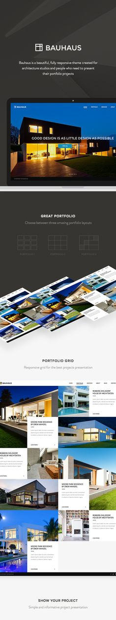 Bauhaus is a beautiful, fully responsive theme created for architecture studios and portfolio projects, by Eugene and Lyudmila Maksymchuk on Behance.