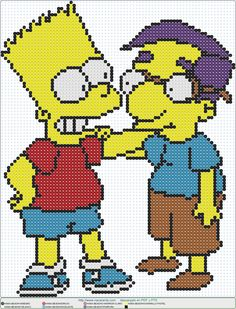 bart milhouse EN HAMA BEADS, Perler Bead Patterns