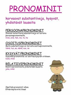 #sanaluokat #pronominit Second Language, Foreign Language, Learn Finnish, Finnish Language, Writing Skills, Primary School, Special Education, Grammar, Literacy