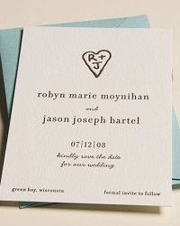 Initials in a heart simple save the date