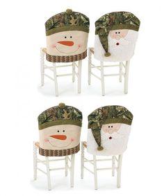Oak Santa and Snowman Camouflage Christmas  - Set of 4 Mossy Oak Santa and Snowman Camouflage Christmas Chair Seat Covers  Link    #Christmas #Christmas2014